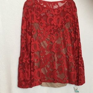 INC International Concepts Red Lace Blouse, NWT